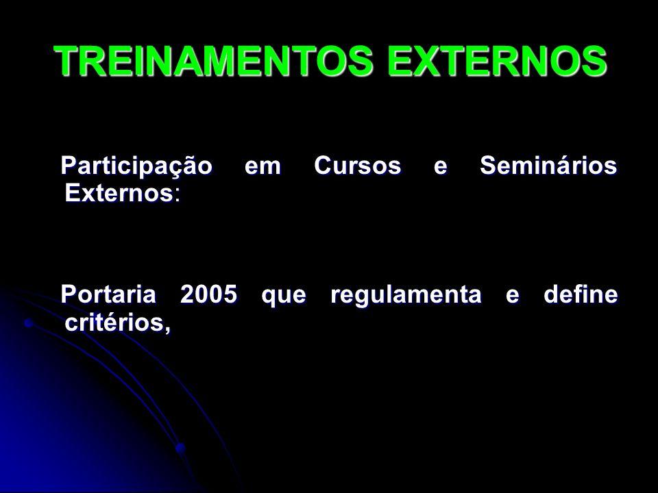 Participação em Cursos e Seminários Externos: Participação em Cursos e Seminários Externos: Portaria 2005 que regulamenta e define critérios, Portaria