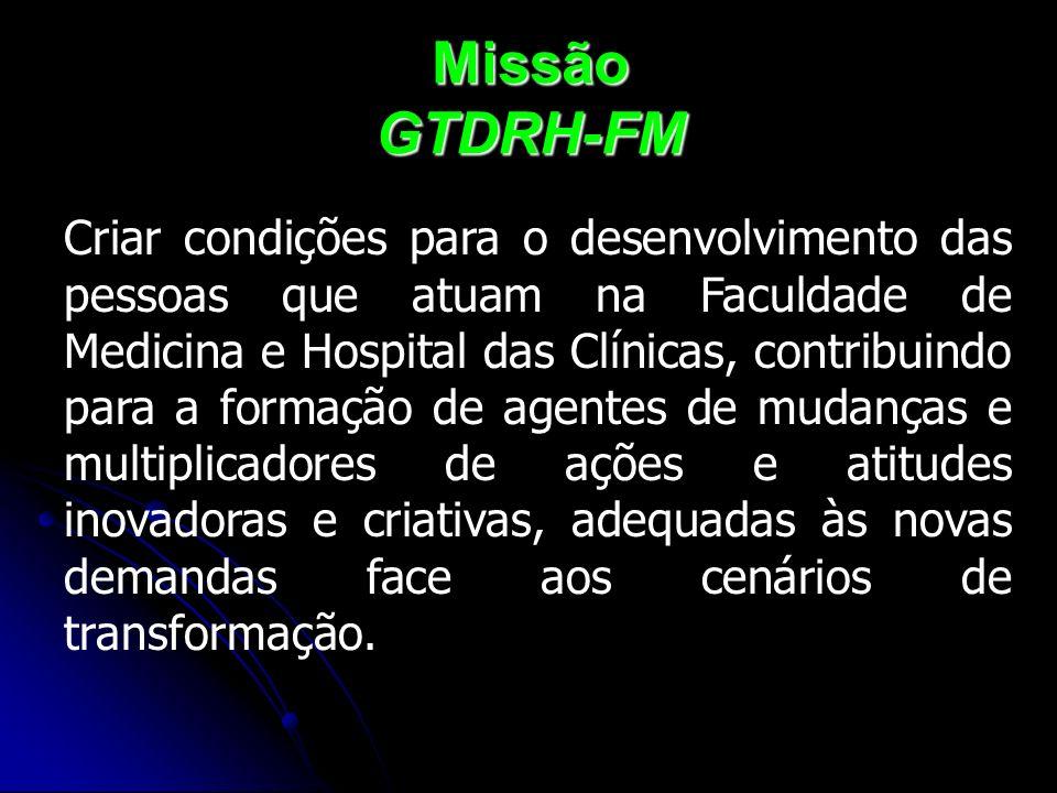 Missão GTDRH-FM Criar condições para o desenvolvimento das pessoas que atuam na Faculdade de Medicina e Hospital das Clínicas, contribuindo para a for