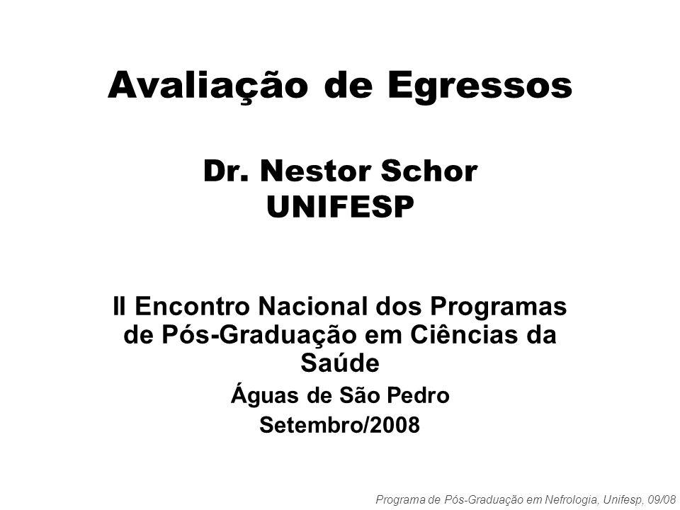 Programa de Pós-Graduação em Nefrologia, Unifesp, 09/08 Avaliação de Egressos Dr. Nestor Schor UNIFESP II Encontro Nacional dos Programas de Pós-Gradu