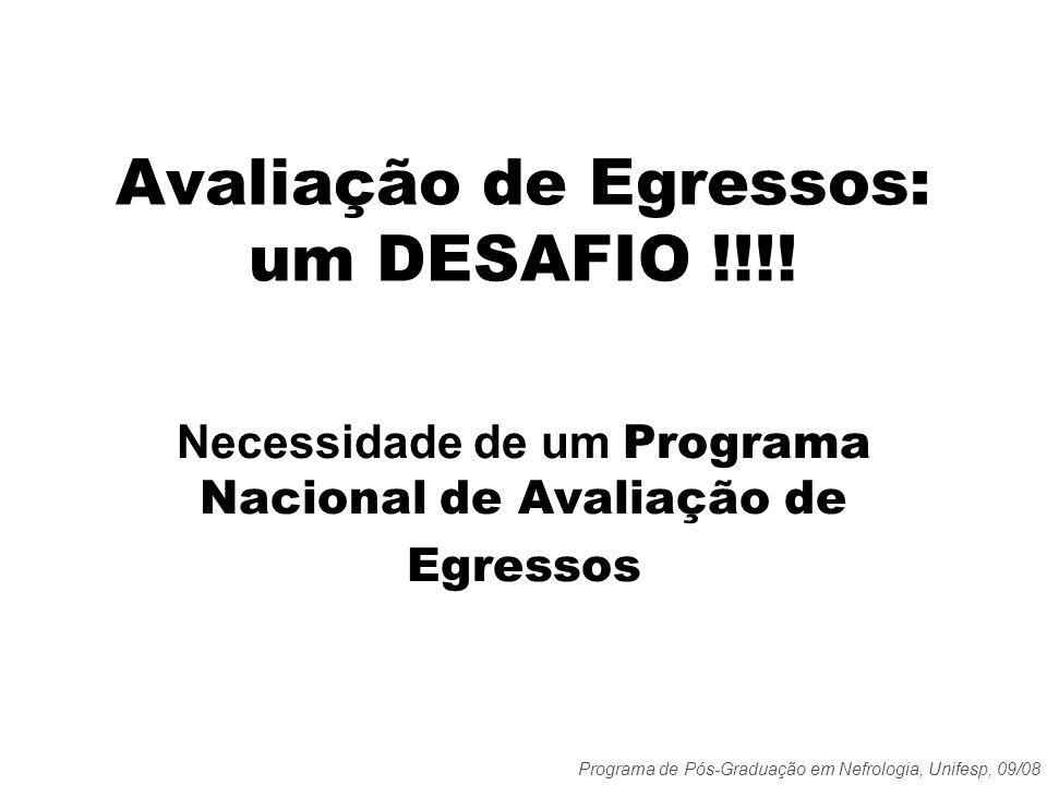 Programa de Pós-Graduação em Nefrologia, Unifesp, 09/08 Avaliação de Egressos: um DESAFIO !!!! Necessidade de um Programa Nacional de Avaliação de Egr