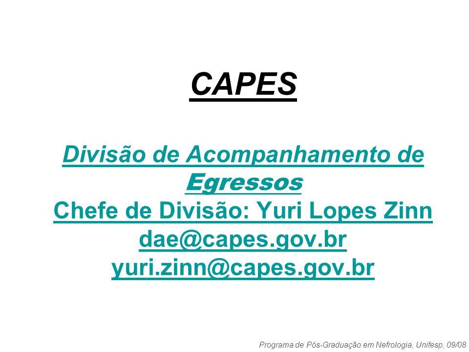 Programa de Pós-Graduação em Nefrologia, Unifesp, 09/08 Avaliação de Bolsas no Exterior (DSW e PD) 1997-2008: 782 bolsas 71 bolsas exterior/CAPES por ano Dados: Divisão de Acompanhamento de Egressos da CAPES setembro/2008