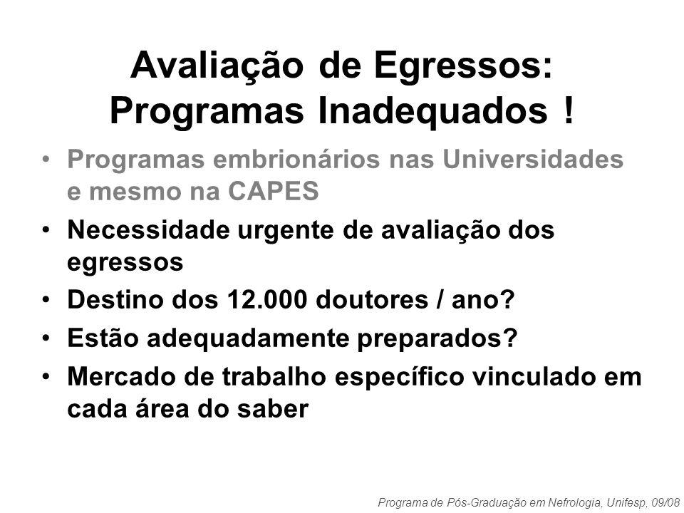 Programa de Pós-Graduação em Nefrologia, Unifesp, 09/08 Avaliação de Egressos: Programas Inadequados ! Programas embrionários nas Universidades e mesm
