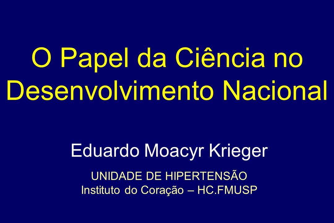 O Papel da Ciência no Desenvolvimento Nacional Eduardo Moacyr Krieger UNIDADE DE HIPERTENSÃO Instituto do Coração – HC.FMUSP