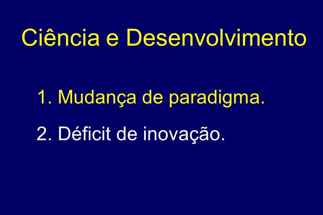 1. Mudança de paradigma. 2. Déficit de inovação. Ciência e Desenvolvimento