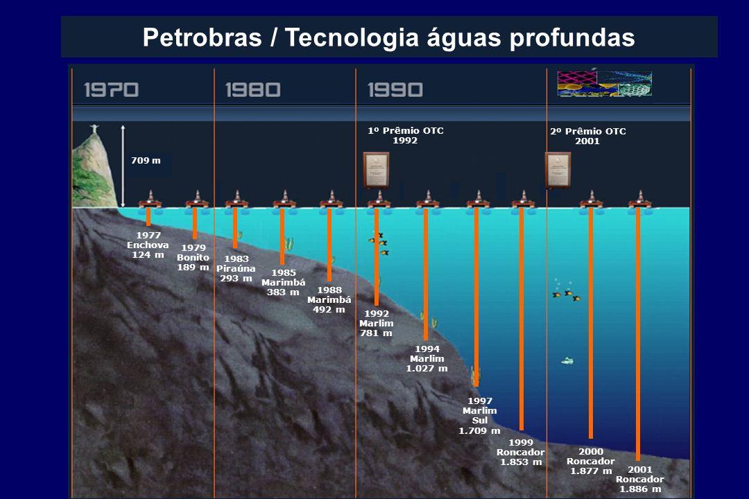 Petrobras / Tecnologia águas profundas 1977 Enchova 124 m 1979 Bonito 189 m 1983 Piraúna 293 m 1985 Marimbá 383 m 1988 Marimbá 492 m 1992 Marlim 781 m