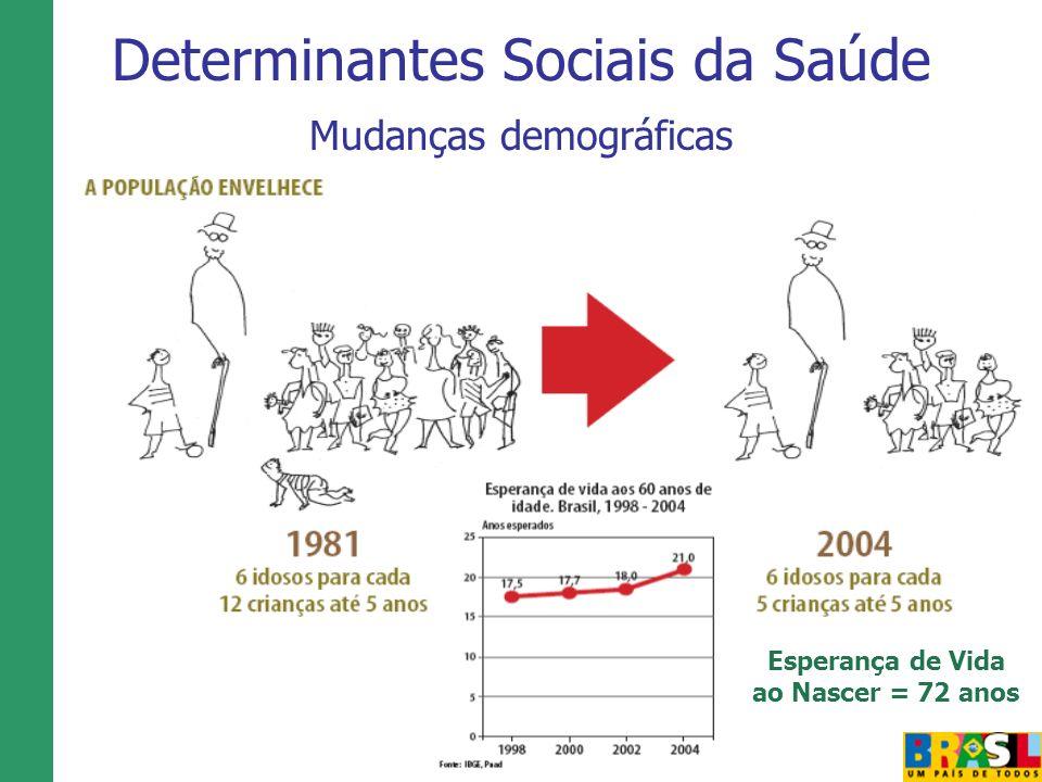 Determinantes Sociais da Saúde Mudanças demográficas Esperança de Vida ao Nascer = 72 anos