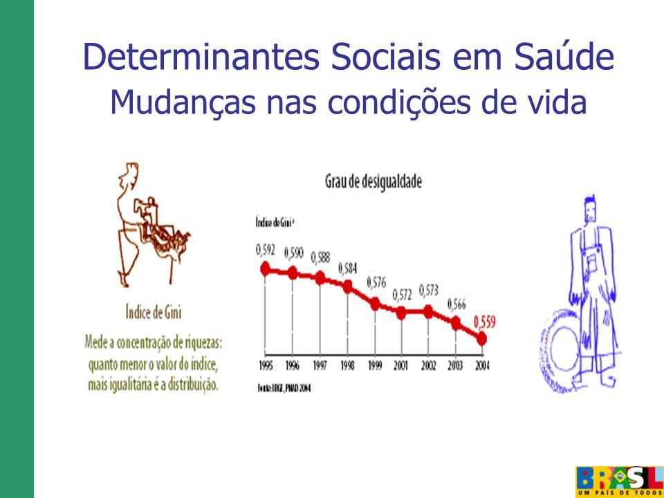Determinantes Sociais em Saúde Mudanças nas condições de vida