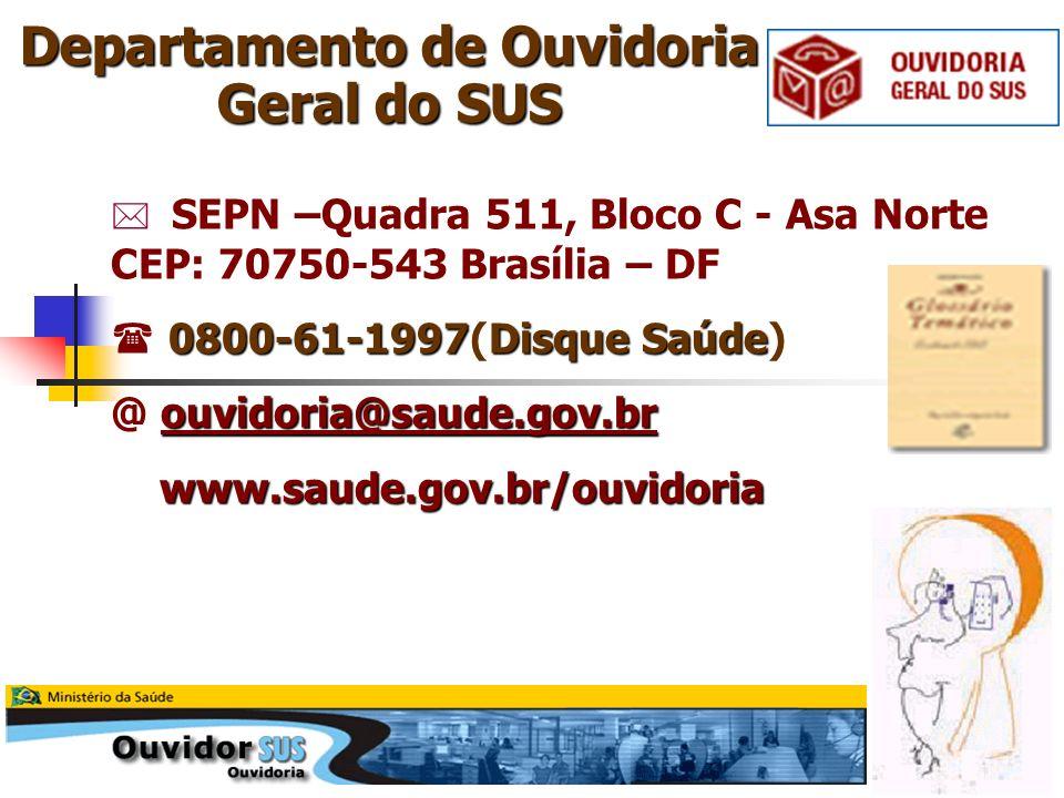 SEPN –Quadra 511, Bloco C - Asa Norte CEP: 70750-543 Brasília – DF 0800-61-1997Disque Saúde 0800-61-1997(Disque Saúde) ouvidoria@saude.gov.br @ ouvido
