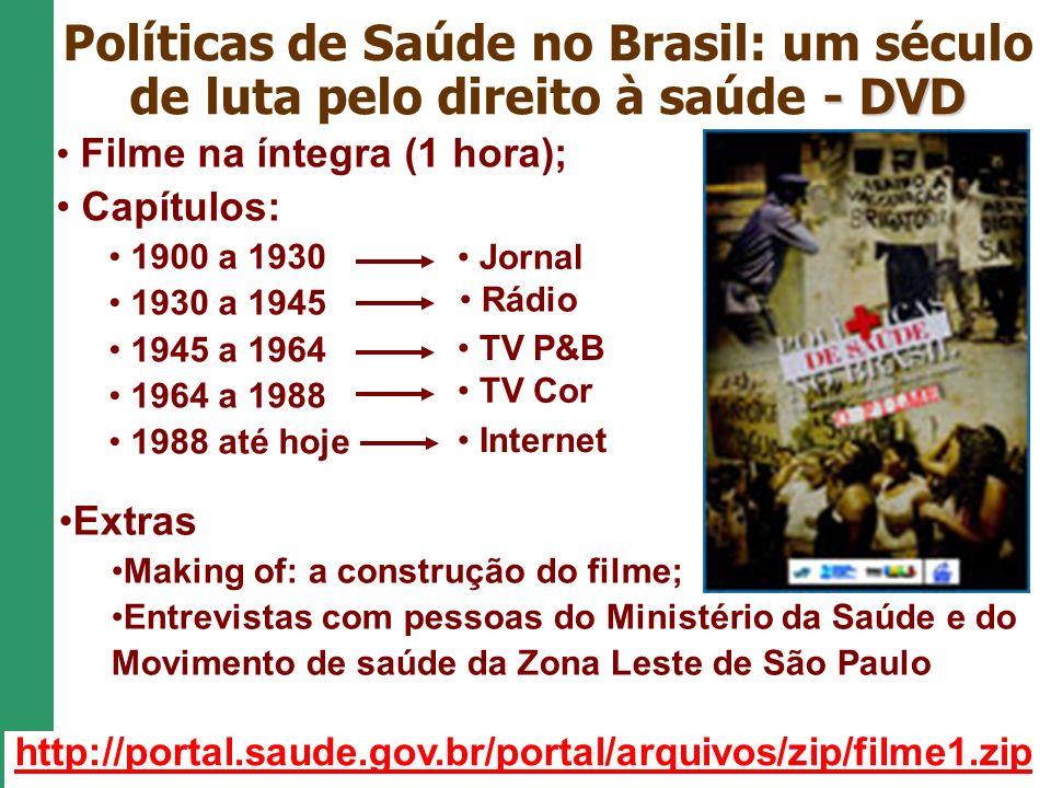 - DVD Políticas de Saúde no Brasil: um século de luta pelo direito à saúde - DVD Filme na íntegra (1 hora); Capítulos: 1900 a 1930 1930 a 1945 1945 a