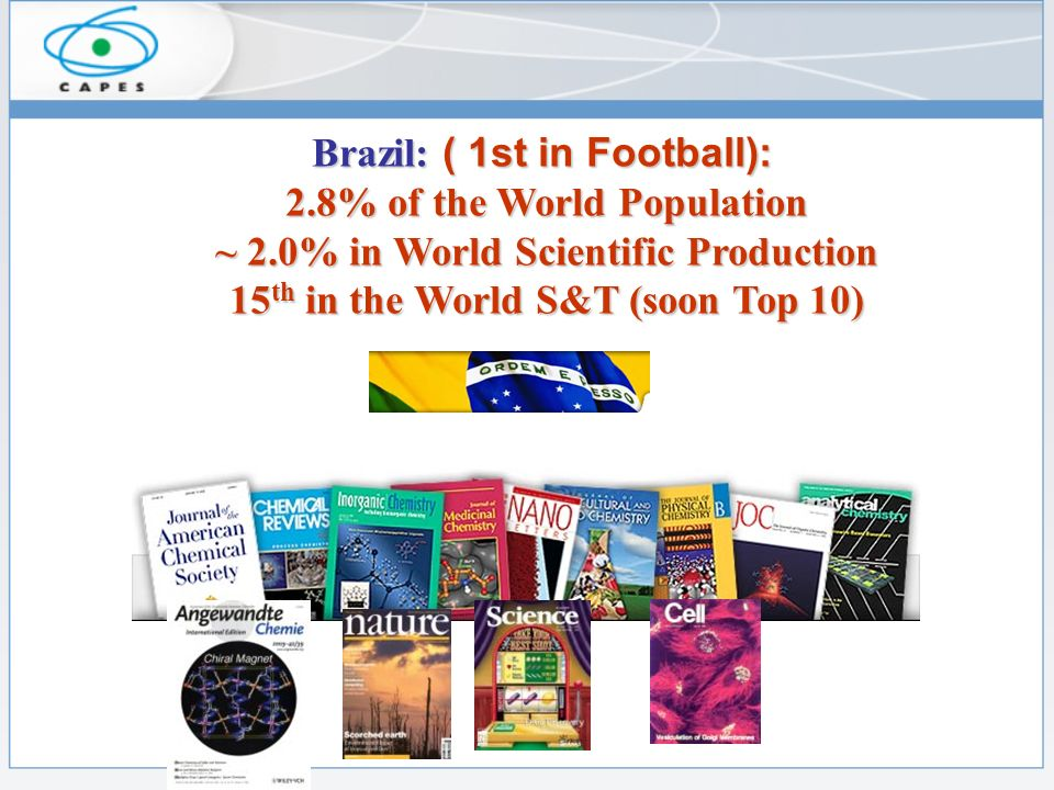 Brazil: ( 1st in Football): 2.8% of the World Population ~ 2.0% in World Scientific Production 15 th in the World S&T (soon Top 10)