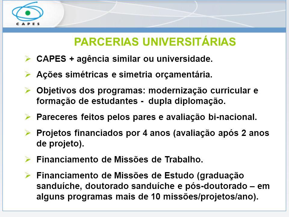 PARCERIAS UNIVERSITÁRIAS CAPES + agência similar ou universidade. Ações simétricas e simetria orçamentária. Objetivos dos programas: modernização curr