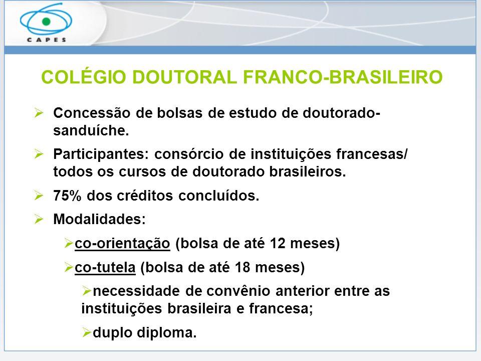 COLÉGIO DOUTORAL FRANCO-BRASILEIRO Concessão de bolsas de estudo de doutorado- sanduíche. Participantes: consórcio de instituições francesas/ todos os