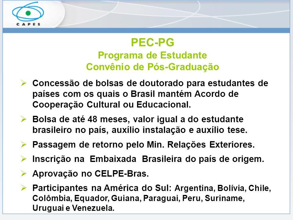 PEC-PG Programa de Estudante Convênio de Pós-Graduação Concessão de bolsas de doutorado para estudantes de países com os quais o Brasil mantém Acordo