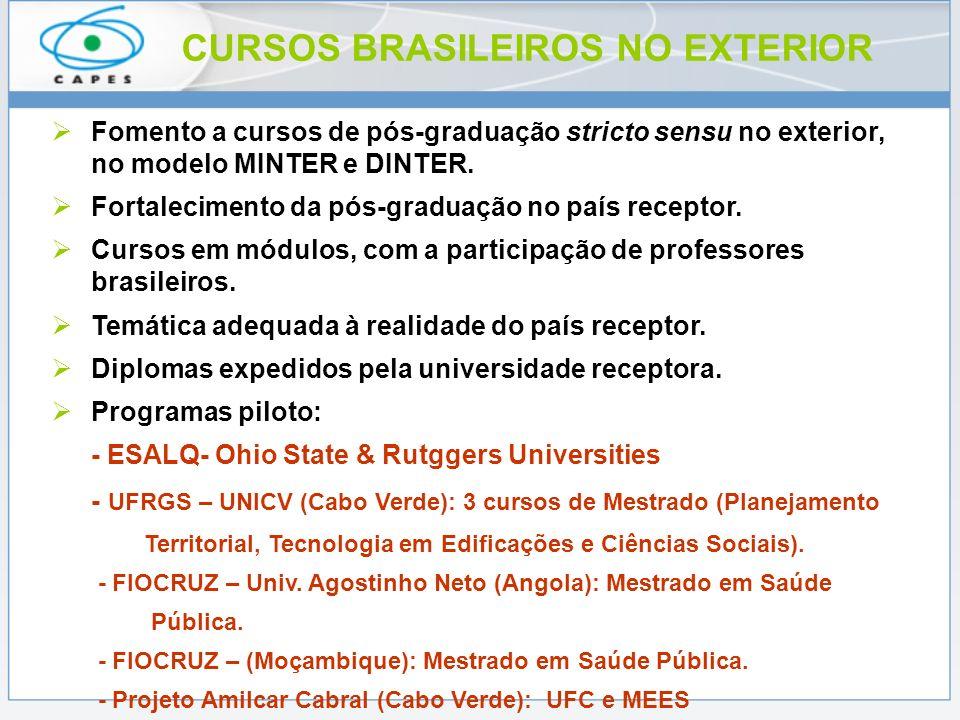 CURSOS BRASILEIROS NO EXTERIOR Fomento a cursos de pós-graduação stricto sensu no exterior, no modelo MINTER e DINTER. Fortalecimento da pós-graduação