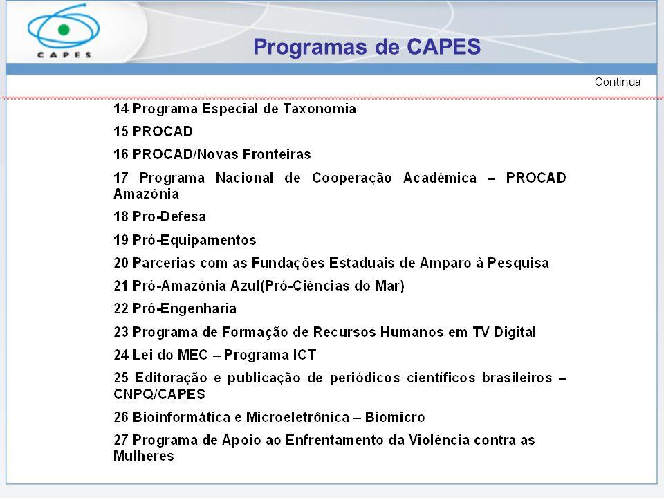 Programas de CAPES Continua