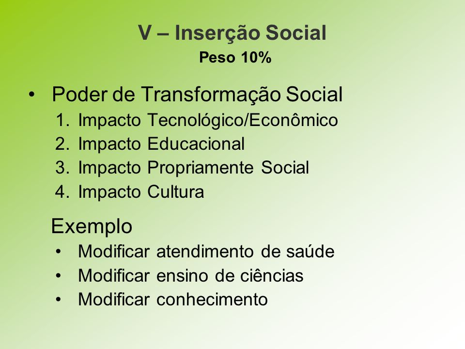 Poder de Transformação Social 1.Impacto Tecnológico/Econômico 2.Impacto Educacional 3.Impacto Propriamente Social 4.Impacto Cultura Exemplo Modificar