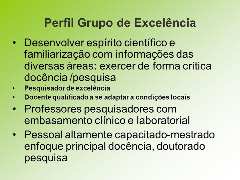 Perfil Grupo de Excelência Desenvolver espírito científico e familiarização com informações das diversas áreas: exercer de forma crítica docência /pes