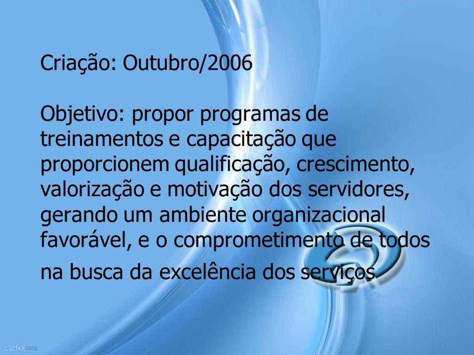 Criação: Outubro/2006 Objetivo: propor programas de treinamentos e capacitação que proporcionem qualificação, crescimento, valorização e motivação dos