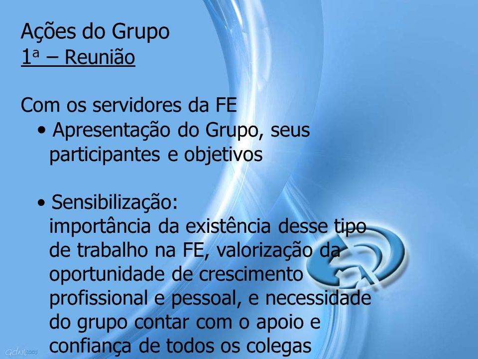 Ações do Grupo 1 a – Reunião Com os servidores da FE Apresentação do Grupo, seus participantes e objetivos Sensibilização: importância da existência d