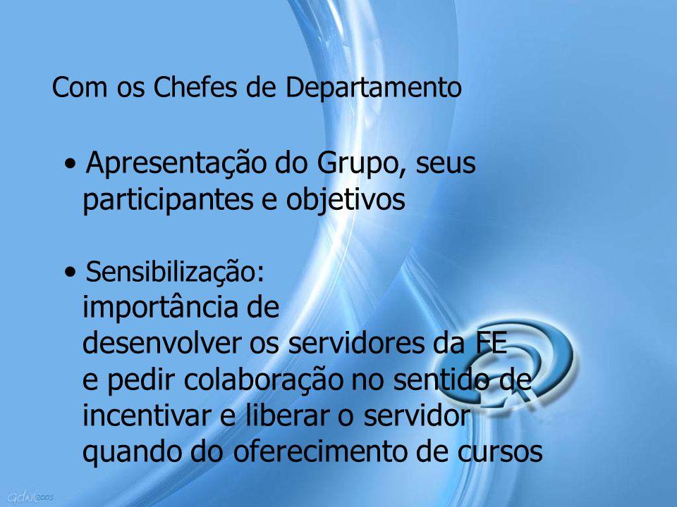 Com os Chefes de Departamento Apresentação do Grupo, seus participantes e objetivos Sensibilização: importância de desenvolver os servidores da FE e p
