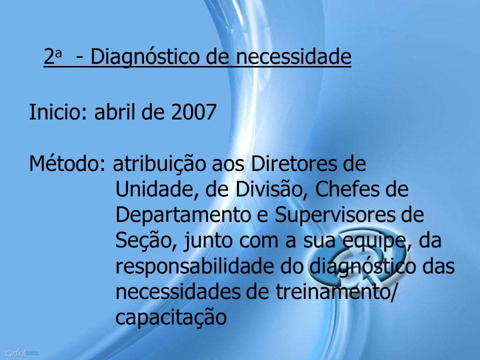 2 a - Diagnóstico de necessidade Inicio: abril de 2007 Método: atribuição aos Diretores de Unidade, de Divisão, Chefes de Departamento e Supervisores
