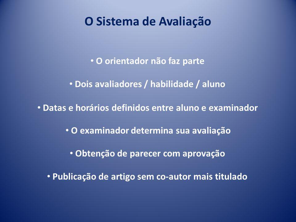O Sistema de Avaliação Dois avaliadores / habilidade / aluno Obtenção de parecer com aprovação Datas e horários definidos entre aluno e examinador O o