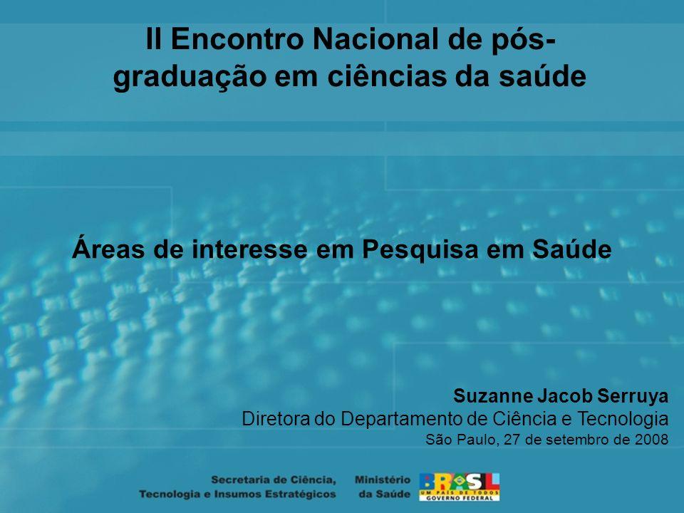 Suzanne Jacob Serruya Diretora do Departamento de Ciência e Tecnologia São Paulo, 27 de setembro de 2008 Áreas de interesse em Pesquisa em Saúde II Encontro Nacional de pós- graduação em ciências da saúde