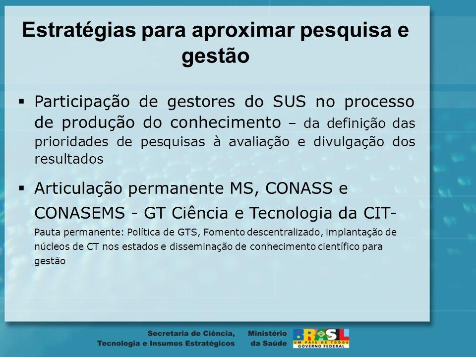 Informações científicas produzidas Informações referentes ao projetos de pesquisas financiados pela SCTIE Revisões sistemáticas e estudos de Avaliação