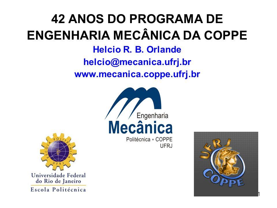 1 42 ANOS DO PROGRAMA DE ENGENHARIA MECÂNICA DA COPPE Helcio R. B. Orlande helcio@mecanica.ufrj.br www.mecanica.coppe.ufrj.br