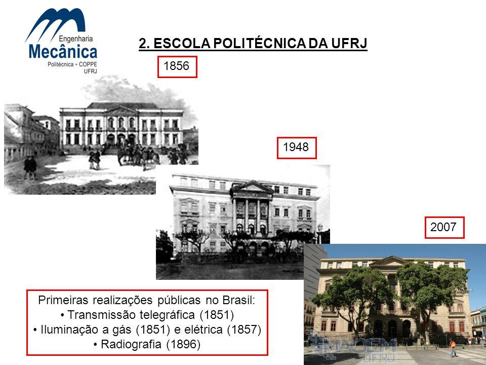 17 2. ESCOLA POLITÉCNICA DA UFRJ 1948 2007 Primeiras realizações públicas no Brasil: Transmissão telegráfica (1851) Iluminação a gás (1851) e elétrica