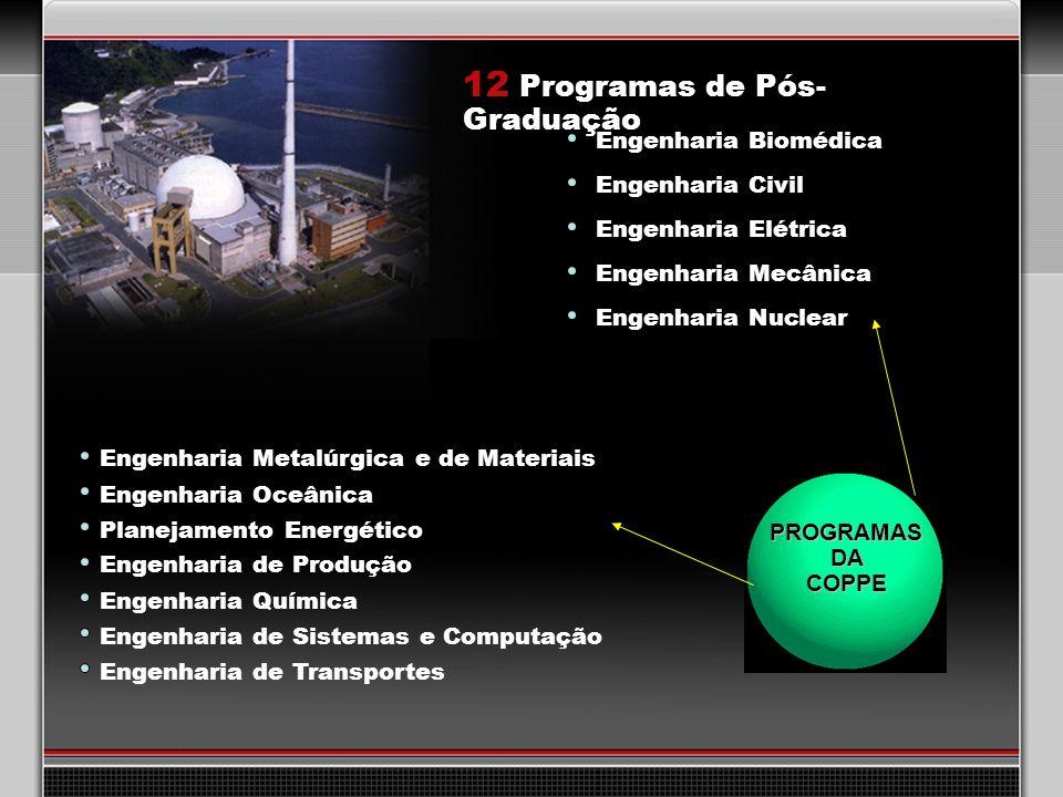 25 12 Programas de Pós- Graduação Engenharia Biomédica Engenharia Civil Engenharia Metalúrgica e de Materiais Engenharia Mecânica Engenharia Elétrica