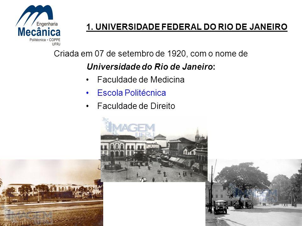 3 1. UNIVERSIDADE FEDERAL DO RIO DE JANEIRO Criada em 07 de setembro de 1920, com o nome de Universidade do Rio de Janeiro: Faculdade de Medicina Esco