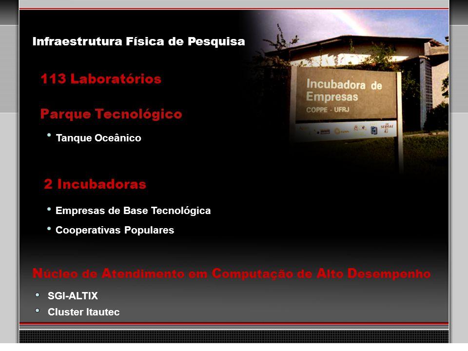 30 113 Laboratórios 2 Incubadoras Parque Tecnológico Empresas de Base Tecnológica Cooperativas Populares N úcleo de A tendimento em C omputação de A l