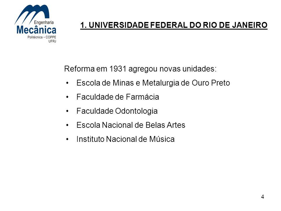 4 1. UNIVERSIDADE FEDERAL DO RIO DE JANEIRO Reforma em 1931 agregou novas unidades: Escola de Minas e Metalurgia de Ouro Preto Faculdade de Farmácia F
