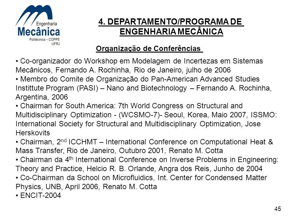45 4. DEPARTAMENTO/PROGRAMA DE ENGENHARIA MECÂNICA Co-organizador do Workshop em Modelagem de Incertezas em Sistemas Mecânicos, Fernando A. Rochinha,