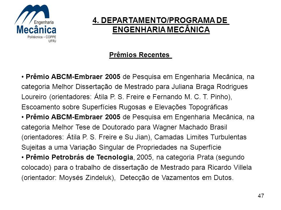 47 4. DEPARTAMENTO/PROGRAMA DE ENGENHARIA MECÂNICA Prêmios Recentes Prêmio ABCM-Embraer 2005 de Pesquisa em Engenharia Mecânica, na categoria Melhor D
