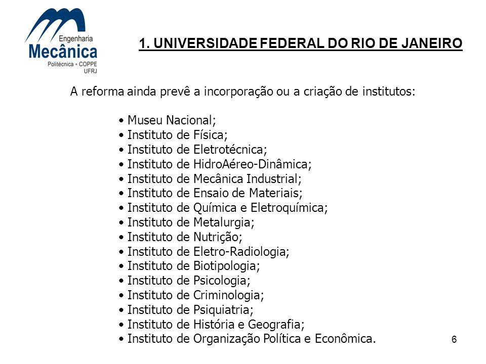 6 1. UNIVERSIDADE FEDERAL DO RIO DE JANEIRO A reforma ainda prevê a incorporação ou a criação de institutos: Museu Nacional; Instituto de Física; Inst