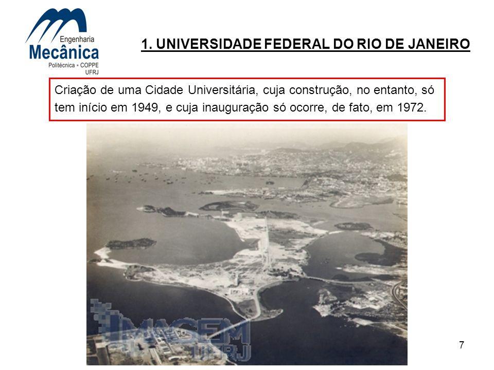 7 1. UNIVERSIDADE FEDERAL DO RIO DE JANEIRO Criação de uma Cidade Universitária, cuja construção, no entanto, só tem início em 1949, e cuja inauguraçã