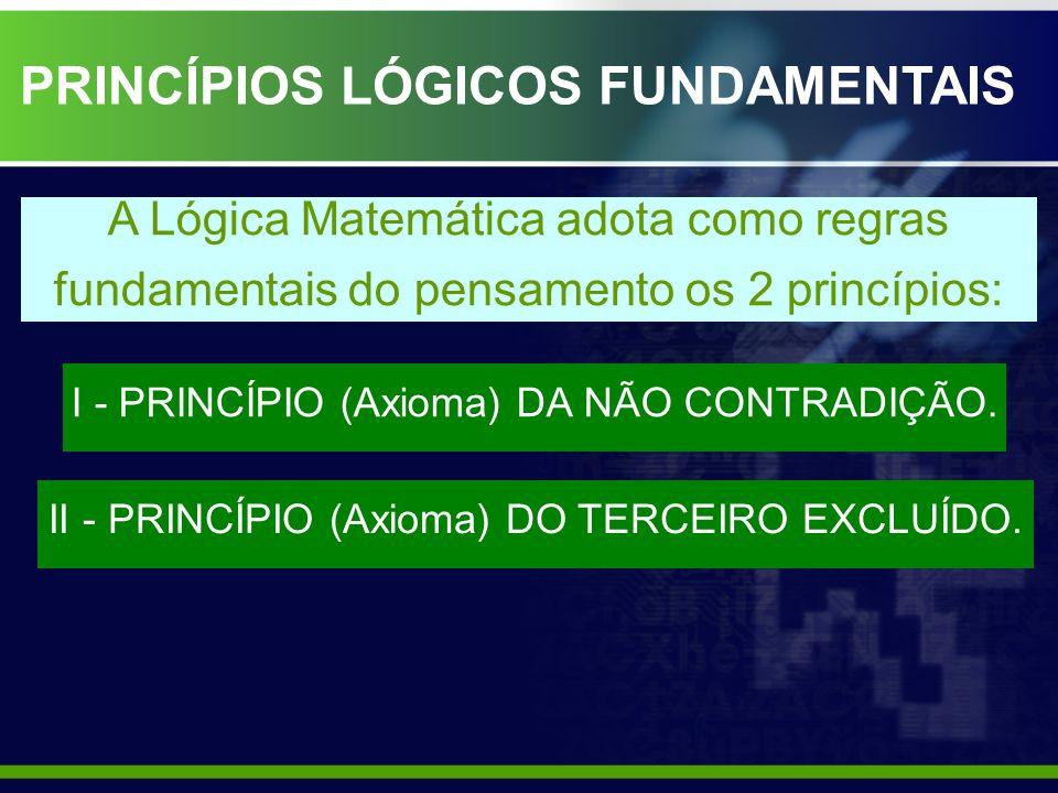 PRINCÍPIOS LÓGICOS FUNDAMENTAIS I - PRINCÍPIO (Axioma) DA NÃO CONTRADIÇÃO. II - PRINCÍPIO (Axioma) DO TERCEIRO EXCLUÍDO. A Lógica Matemática adota com