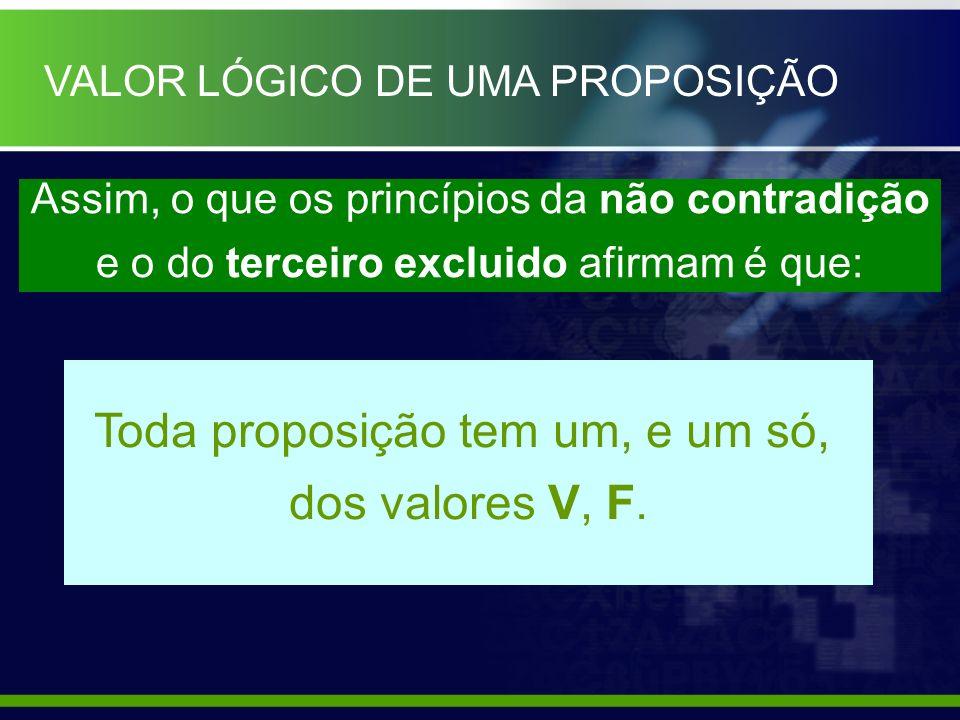 Assim, o que os princípios da não contradição e o do terceiro excluido afirmam é que: Toda proposição tem um, e um só, dos valores V, F. VALOR LÓGICO
