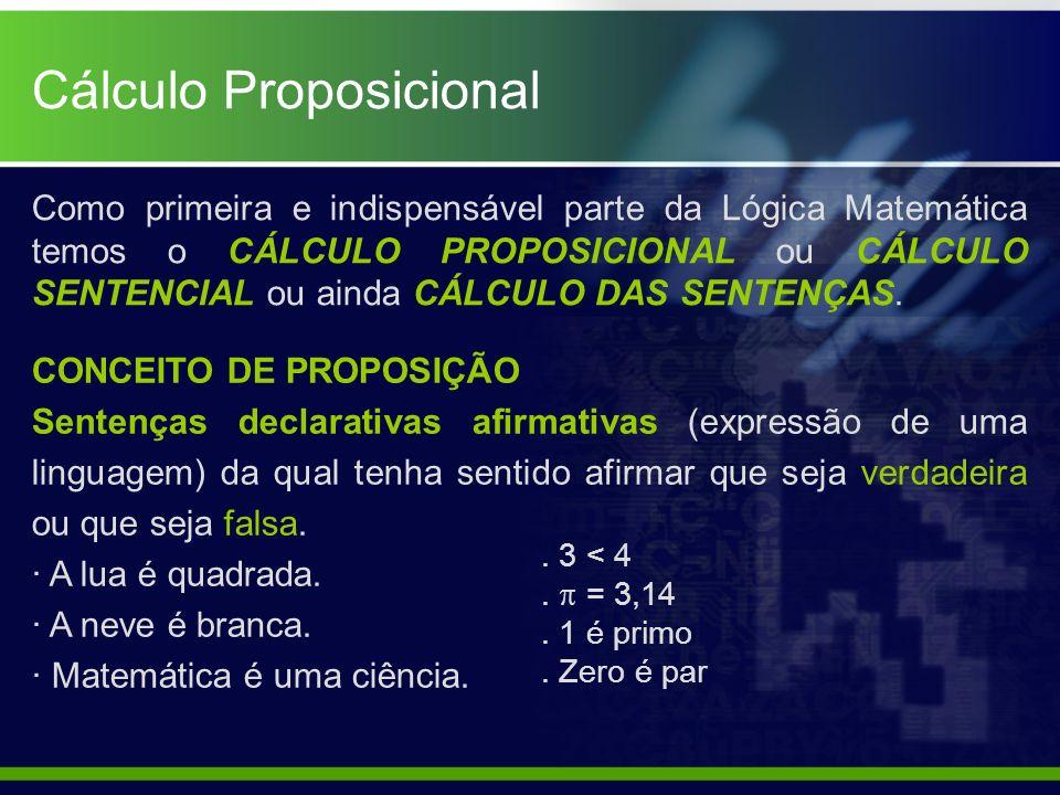 Cálculo Proposicional Como primeira e indispensável parte da Lógica Matemática temos o CÁLCULO PROPOSICIONAL ou CÁLCULO SENTENCIAL ou ainda CÁLCULO DA