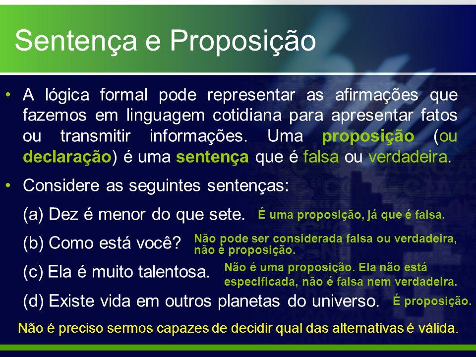 Sentença e Proposição A lógica formal pode representar as afirmações que fazemos em linguagem cotidiana para apresentar fatos ou transmitir informaçõe