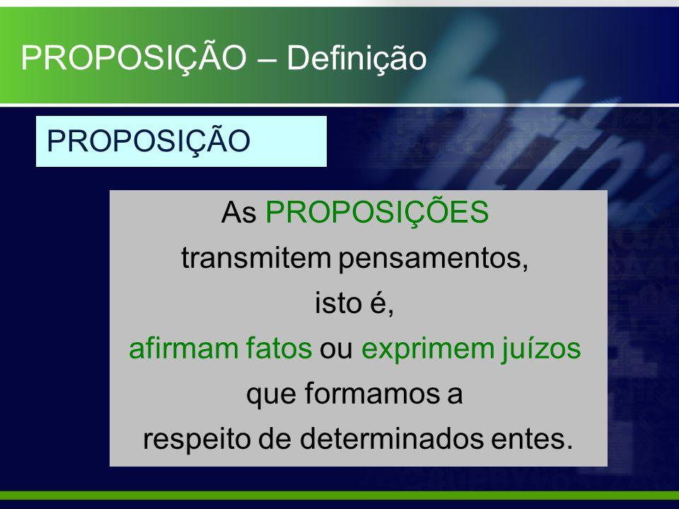 As PROPOSIÇÕES transmitem pensamentos, isto é, afirmam fatos ou exprimem juízos que formamos a respeito de determinados entes. PROPOSIÇÃO PROPOSIÇÃO –