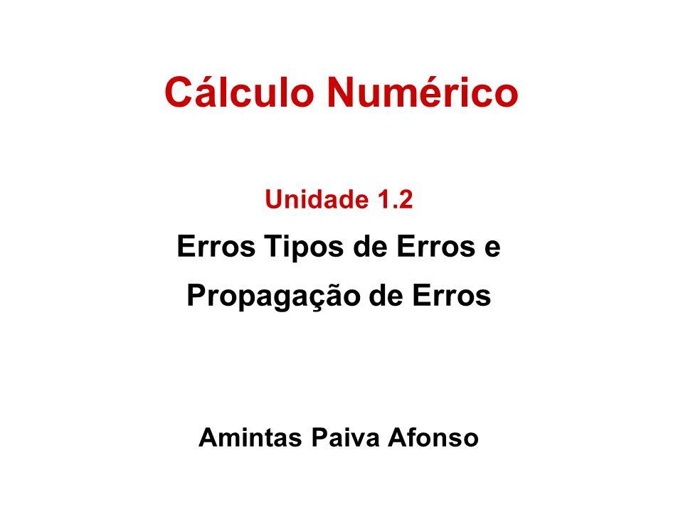 Cálculo Numérico Amintas Paiva Afonso Unidade 1.2 Erros Tipos de Erros e Propagação de Erros