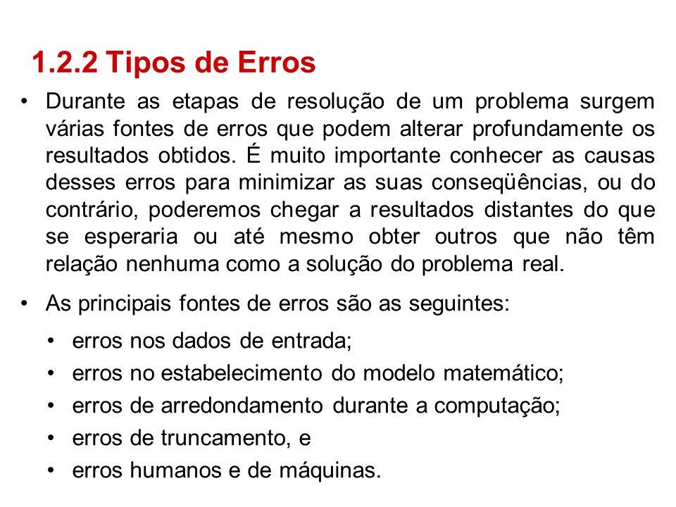 Durante as etapas de resolução de um problema surgem várias fontes de erros que podem alterar profundamente os resultados obtidos. É muito importante