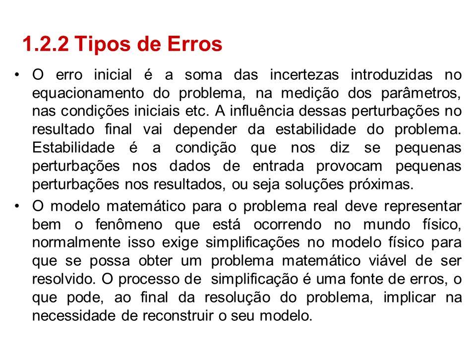 O erro inicial é a soma das incertezas introduzidas no equacionamento do problema, na medição dos parâmetros, nas condições iniciais etc. A influência