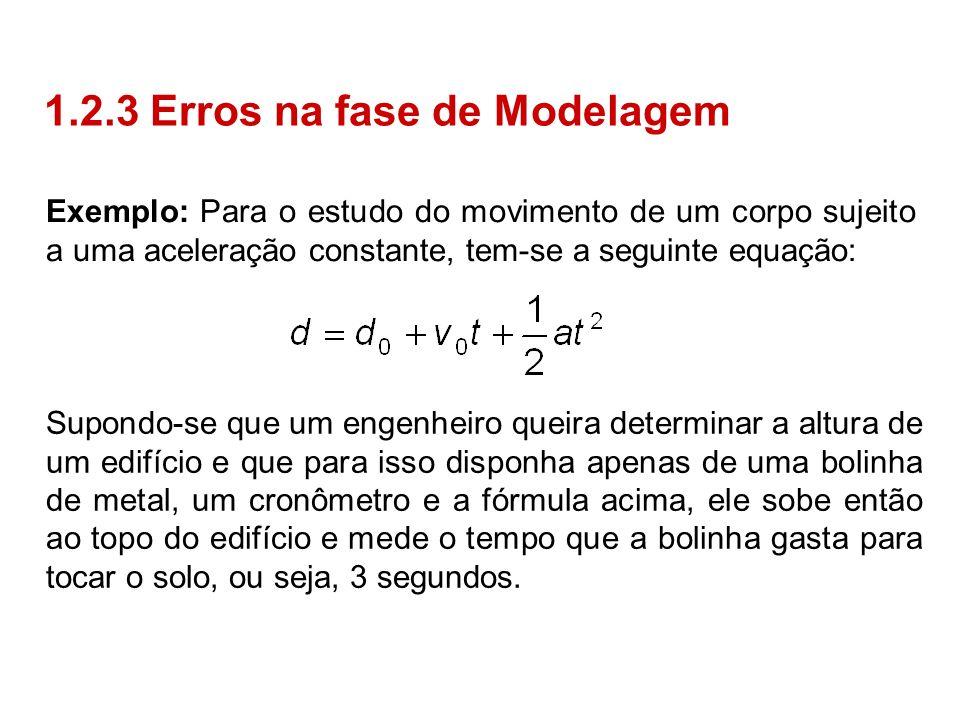 Exemplo: Para o estudo do movimento de um corpo sujeito a uma aceleração constante, tem-se a seguinte equação: 1.2.3 Erros na fase de Modelagem Supond