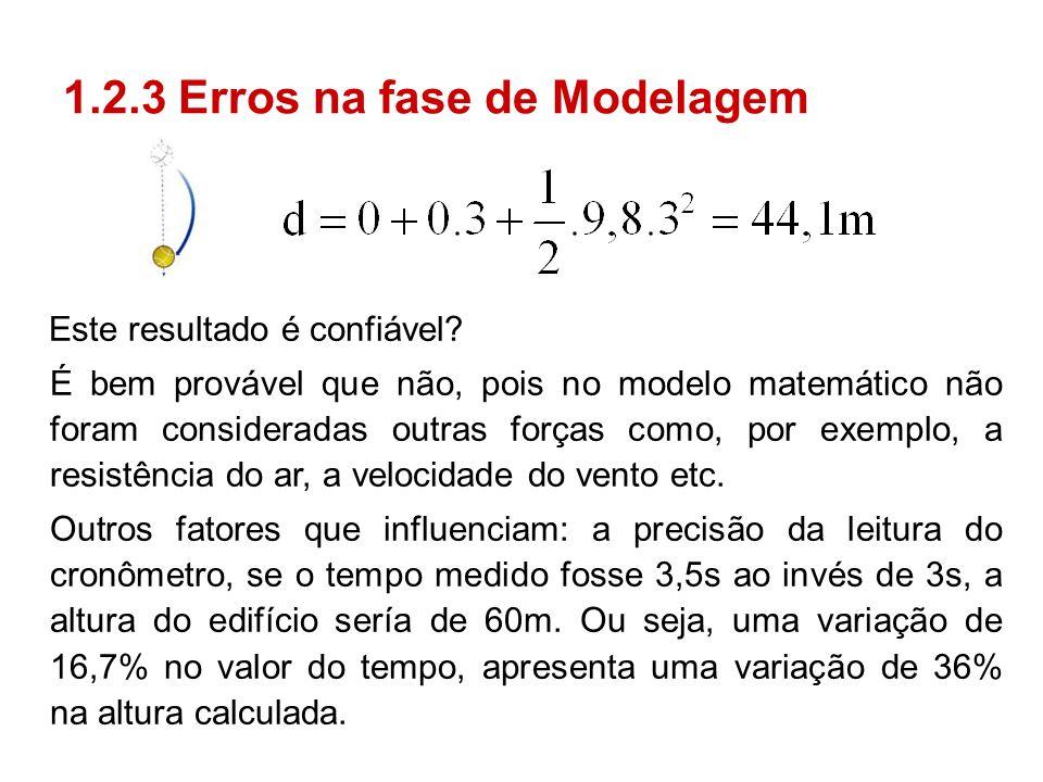 1.2.3 Erros na fase de Modelagem Este resultado é confiável? É bem provável que não, pois no modelo matemático não foram consideradas outras forças co