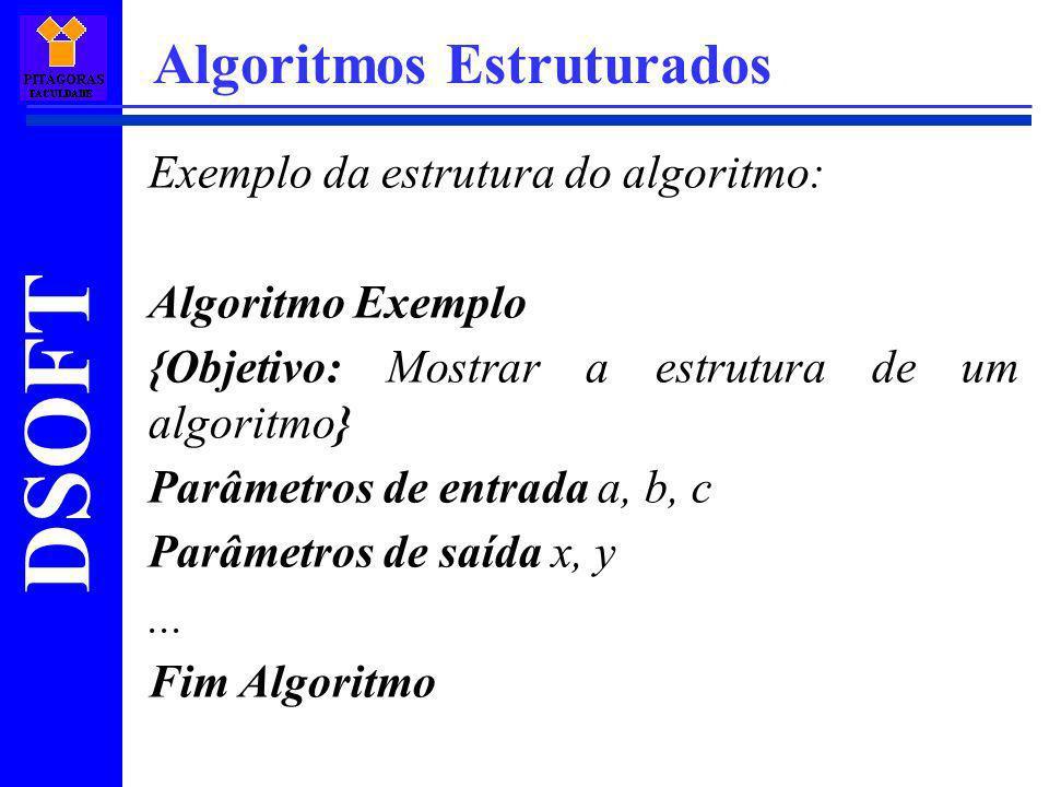 DSOFT Algoritmos Estruturados Exemplo da estrutura do algoritmo: Algoritmo Exemplo {Objetivo: Mostrar a estrutura de um algoritmo} Parâmetros de entra