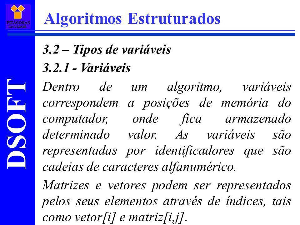 DSOFT Algoritmos Estruturados 3.2 – Tipos de variáveis 3.2.1 - Variáveis Dentro de um algoritmo, variáveis correspondem a posições de memória do compu